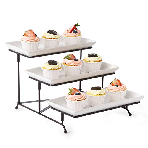 3 Tier Serving Stand Collapsible Sturdier Rack with 3 Porcelain Serving Platters Tier Serving Trays for Fruit Dessert Presentation Party Display Set