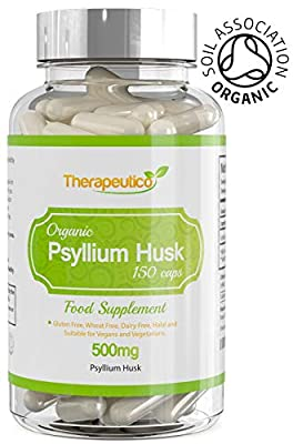 ORGANIC Psyllium Husk Capsules | 150 Veg Caps | 500mg | No Binders, Fillers, Additives | Digestion, Constipation Relief, Weight Loss | Made In UK | Certified Organic By Soil Association | Vegan