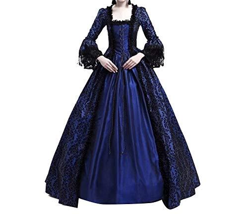 Damen Kleider Luxuriös Rüschen Schnüren Aufflackern Hülsen Karneval Kostüm Frauen Gothic Palast Königin Vampir Cosplay Kostüme XXL Marine