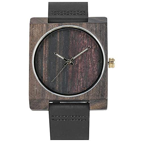 HYLX Reloj Cuadrado de Madera de ébano para Mujer, Elegante Reloj de Pulsera de Madera de Cuarzo con Puntero Luminoso para Hombre, Relojes de Madera con Correa de Cuero Negro Premium para Hombre