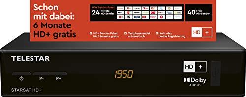 Telestar STARSAT HD+ - HD Satelliten Receiver inkl HD+ Karte (DVB-S2, HDMI, Scart, USB, inkl. 6 Monate Guthaben) schwarz