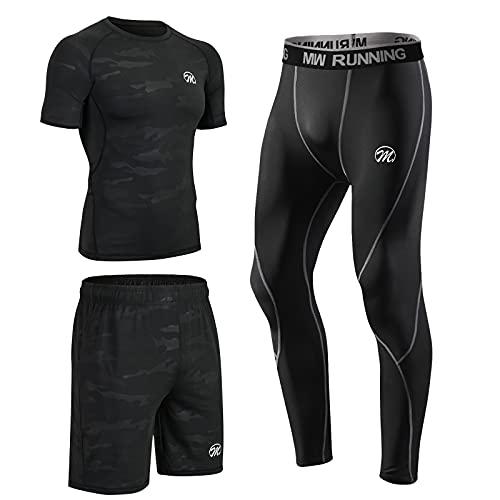 MEETEU Ensemble Compression Homme Tenue Sport Fitness Vêtement Running Tee Shirt Compression Legging Collant Sport Running Jogging Cyclisme