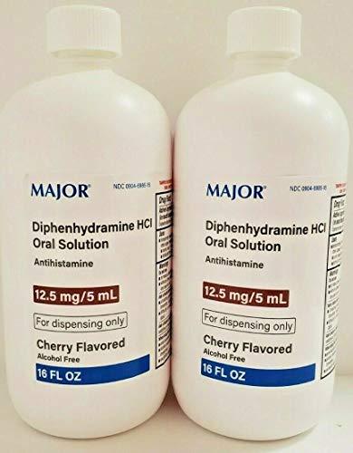Major Diphenhydramine 12.5mg/ 5mL HCL Liquid Solution, 16oz -2 Pack
