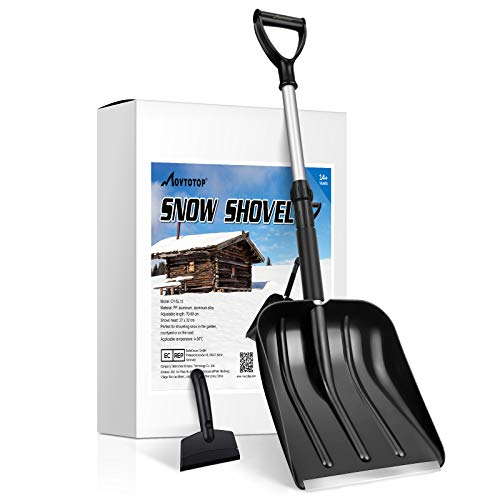 MOVTOTOP Snow Shovel for Car, Portable Snow Shovel with Ajustable Handle and Durable Aluminum Edge Blade for Snow Removal, 35.4-Inch Snow Shovel for Driveway,Car, with Ice Scraper (Black)