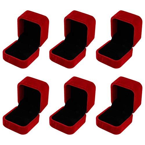 metagio 6 cajas de anillos de terciopelo de alta calidad, cuadradas, 55 x 50 x 43 mm, caja de regalo (rojo)