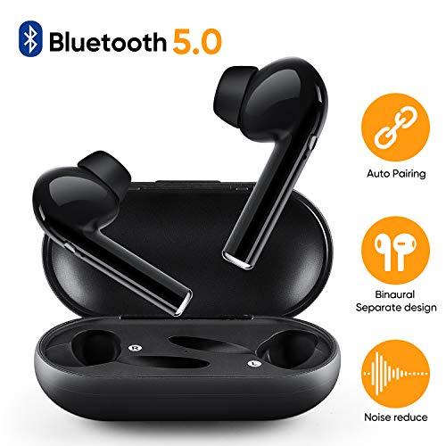 Auriculares Inalámbricos, Mini Auriculares Bluetooth 5.0 Auto Pairing, Auriculares Micrófono Estéreo con Estuche de Carga, Auriculares con Cancelación de Ruido para Todos los Teléfonos Inteligentes