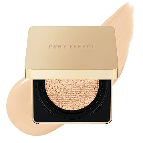 PONY EFFECT Coverstay Cushion Foundation Ex | 001 Rosy Ivory | Long-lasting and High-Coverage Cushion Foundation With Refill | K-beauty