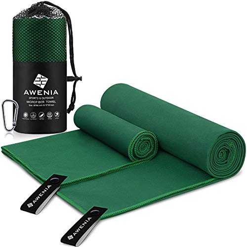 Awenia Camp Towel Quick Dry Microfiber Towel 2 Pack (30 x 60'' + 12 x 24''), Compact Travel Towel for Gym, Sports, Hiking, Backpacking, Swimming, with Carry Bag - Dark Green