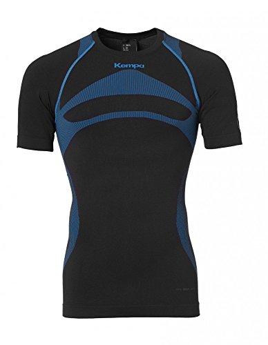 Kempa Attitude Pro Shortsleeve Homme, Noir/Kemp Bleu, FR : XL (Taille Fabricant : XL/2XL)