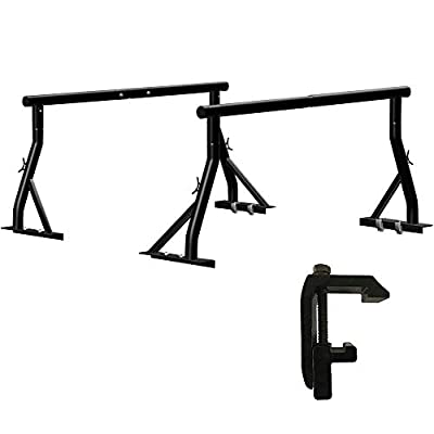 Utility Track System Truck Ladder Rack 800lbs Capacity with 8 Non-Drilling Mounting Clamp Heavy Duty Extendable Universal Pickup Ladder Rack Two-bar Set Matte Black One Pair