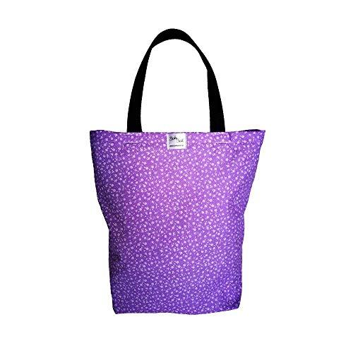 BabyBall Einkaufstasche mit Boden und Langen Henkeln/Shopper Bag aus Baumwolle, 40x45 cm groß, Mehrwegbeutel als Geschenk (Lila/Blümchen)