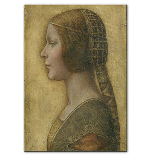 XIXISA La Bella Principessa Pinturas en Lienzo de Leonardo Da Vinci Famoso Arte de Pared Impresiones en Lienzo Reproducciones Cuadros de Pared Decoración para el hogar 40x60cm Sin Marco