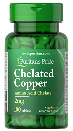 Puritans Pride Copper Chelate 2 Mg Tablets, 100 Count