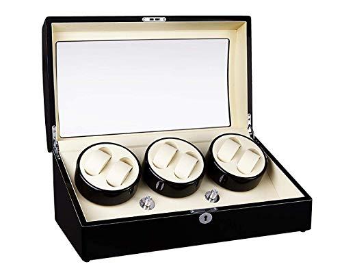 L.HPT Automatische Uhrenwinder-Box mit 6 Wickelpositionen, 7 Stauräume, 4 Modi, Holzschalen, Klavierfarbe Black Gloss