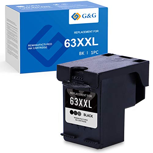 G&G Remanufactured Ink Cartridges Replacement for HP 63 63XL 63XXL use with HP OfficeJet 3830 4650 4652 3833 Envy 4520 4512 4511 DeskJet 1112 3630 3632 2132 2130 3631 3637 (Black, 1-Pack)