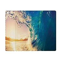iPad 9.7 ケース 2018と2017年モデル 軽量 薄型 レザー 海の装飾、表面の熱帯の木々の日の出の反射での海の波海岸線の夏の写真、ティールゴールド オートスリープ機能 スマートカバー 2017年と2018年発売の9.7インチ iPad 対応