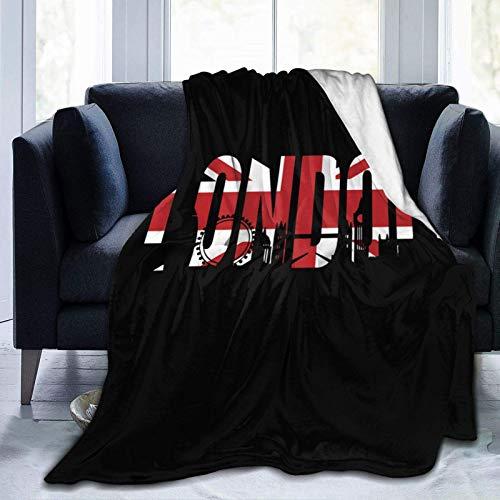 British Flag London Skyline Mantas de Franela de Microfibra Reversibles súper Suaves para sofá, Cama, sofá Ultra Lujoso, cálido y Acogedor.