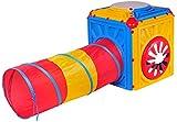Salut Maman - Spielwürfel SpielhausActivity Cube mit faltbarem Tunnel, 75x75x88 cm , Mehrfarbig