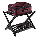 Luggage Rack with Shelf Folding Metal Suitcase Luggage Stand, Double Tiers Luggage Holder with Shoe Shelf Luggage Stand Casual Organization Storage Chests for Bedroom,Guest Room,Hotel
