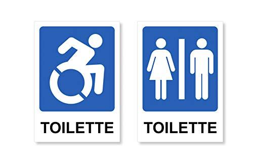Readyprint 2 Adesivi Toilette: Disabili - Uomo   Donna - Etichette, cartelli Adesivi Lavabili, per Porte, Uffici, Locali, Negozi, Misura Grande 10x15 cm