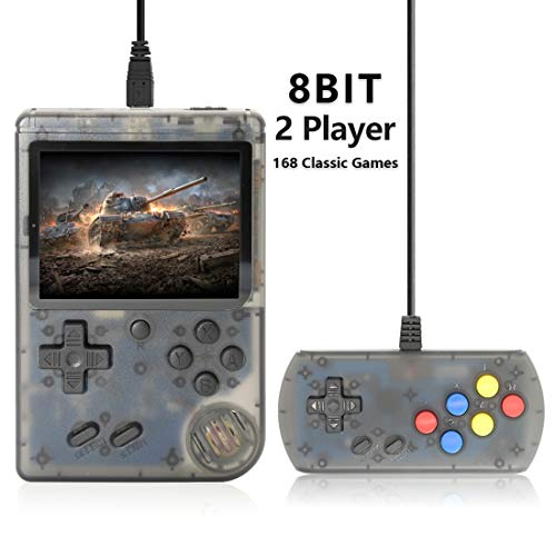 AKTOUGST Retro Handheld Game Console FC System 168 Classic Game Portable Video Game 3 Inch 2 Player Plus Extra Joystick Game Console Support on TV,Presend for Kid Adult, (Transparent Black)
