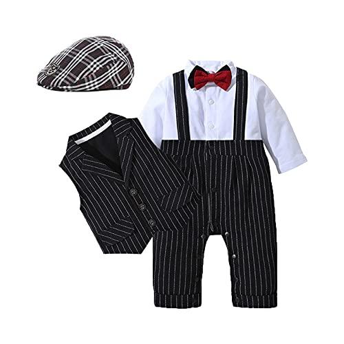 HOSUKKO Baby Boy Suit, One-Piece Romper & Vest & Beret & Bow Tie,Infant Boys Gentleman Outfits Sets for Formal Occassion (Long Sleeve, 0-24 Months),Black,12-18M