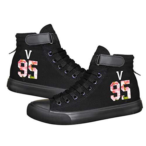 LXYA BTS de Alta Superior Zapatos de Lona Casual/Hip-Hop Estilo de los Zapatos, Unisex cordón de Adulto Encima Formadores Tobillo Botas Shoes Casual Zapatos de Gimnasia Deportes A.R.M.Y Regalo Calie