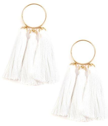 Happiness Boutique Damen Quastenohrringe in Weiß | Statement Ohrringe mit Kreis und Quasten