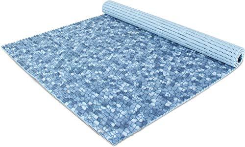 normani 65 oder 130 cm breiter Badvorleger/rutschfeste Matte/Bodenbelag aus PVC Weichschaum,wasserabweisend und rutschhemmend für Bad, Dusche oder Küche Farbe Mosaik Blau Größe 65 cm x 80 cm