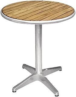 Bolero U428rond piédestal Table bistro Frêne et aluminium Dessus, 600mm, argent