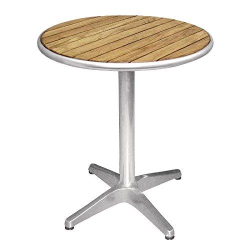 Bolero u428 ronde standaard bistro tafel essenhout en aluminium top, 600 mm, zilver