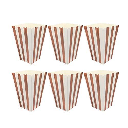 STOBOK Popcorn Boxen mit Rose Gold Streifen ,Mini Streifen Papier Popcorn Container Party Supplies,11.5 x 7 x 5cm,12 Stück