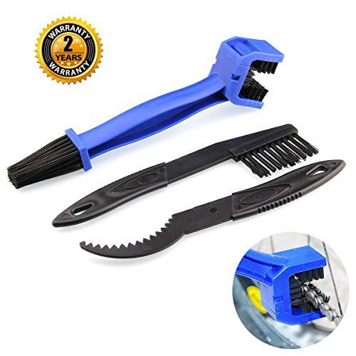 BrightBlue Juego de escobillas Limpiador de Cadenas para Motocicletas, Juego de escobillas para Limpieza de Engranajes de Cadenas de Bicicletas