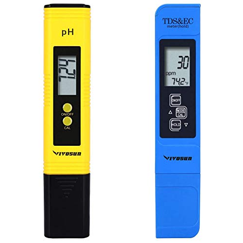 VIVOSUN pH and TDS Meter Combo, 0.05ph High Accuracy Pen Type pH Meter ± 2% Readout Accuracy 3-in-1...