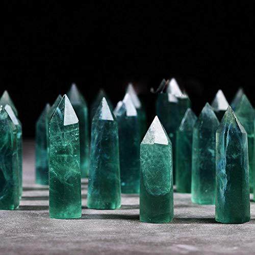 Wifehelper Kristallquarz Natürlicher grüner Fluorit Hexagonal Crystal Column Fluorite Energy Stone Home Decoration