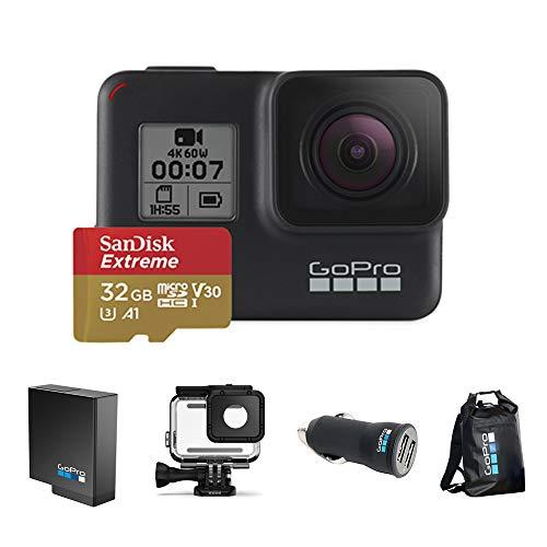 Kit Especial GoPro Câmera Hero 7 Black com Cartão 32GB Extreme, Bateria Extra, Caixa de Proteção, Carregador Veicular e Dry Bag 30l.