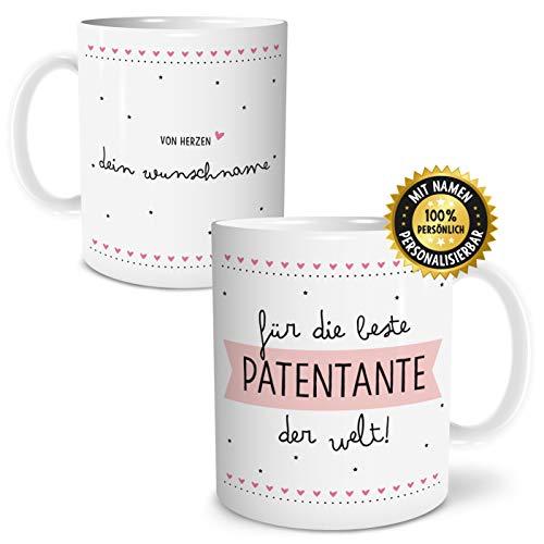 OWLBOOK Beste Patentante Große Kaffee-Tasse mit Spruch im Geschenkkarton Personalisiert mit Namen Geschenke Geschenkideen für Patentante zum Geburtstag Weihnachten