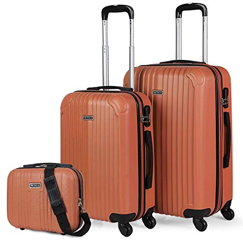 ITACA - Set 2 Suitcases and Beauty case 4 Wheels ABS. Rigid and Lightweight. Padlock. Extensible. Small and Medium T71515B, Color Tangarine