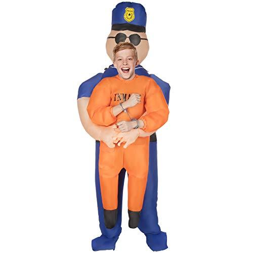 Morph Aufblasbares Polizei Kostüm für Kinder, lustiges Sträflingskostüm Jungen und Mädchen - Einheitsgröße