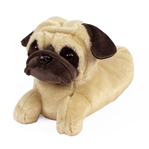 AnimalSlippers.com Pug Slippers - Plush Dog Animal Slippers Tan, 9-12 Women/7-10 Men