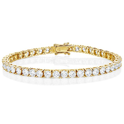 Diamond Treats Gold Tennis Bracelet for Women, Yellow Gold Plated 925 STERLING SILVER with 4mm White Cubic Zirconia. This 6.5 inch Ladies Eternity Bracelet is the Perfect Jewellery Gift for Women.