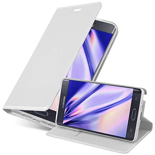 Cadorabo Funda Libro para Samsung Galaxy Note Edge en Classy Plateado - Cubierta Proteccíon con Cierre Magnético, Tarjetero y Función de Suporte - Etui Case Cover Carcasa