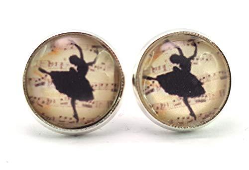 Stechschmuck Ohrstecker Handmade Ohrclips Ohrklemmen Ballerina Ballett Tanz Vintage Silber Farben Damen Kinder Kitsch Kawaii 14mm 1 Paar