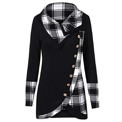 VECDY Damen Pullover,Räumungsverkauf- Herbst Frauen Langarm Hoodie Sweatshirt Pullover mit Kapuze Baumwollmantel Pullover Lässige hohe Kragen warmen Pullover Hoodie (V-schwarz, 44)