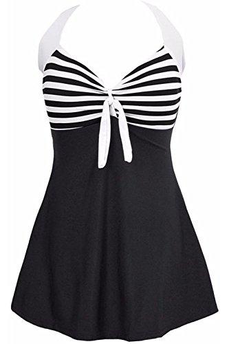 AMAGGIGO Damen Neckholder Push Up Badekleid Figurformender Badeanzug mit Röckchen Bauchweg Einteiliger Badekleid(Schwarze Streifen, EU 34-36(M))
