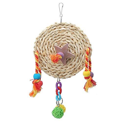 AYCPG Parrot Masticar Juguete, pájaro no tóxico Paja Trenzado Bloque de leña Morder Mordering Columpio Juguete Juguete Cause Accesorios para Loros lucar (Size : L)