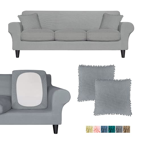 3-Sitzer-Sofabezug, Ultra-Fit-Set (Grundbezug + 3 Sitzkissen) + 2 Kissenbezüge, waschbarer Stretch-Stoff, Schonbezug für Couch-Möbel, Schutz für Haustiere (3-Sitzer, groß), grau)