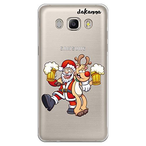 dakanna Custodia Compatibili con [Samsung Galaxy J5 2016] Sfondo Trasparente con Disegni [Babbo Natale e Renne bevono Birra] in Morbida Silicone TPU Flessibile, Shell Case Cover in Gel per Smartphone