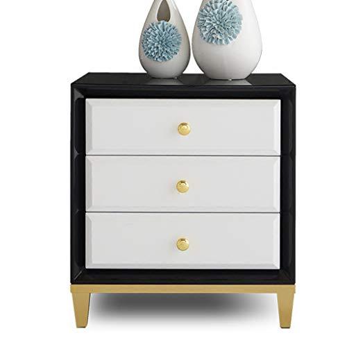 Tables de chevet Simple Chambre Moderne en Acier Inoxydable Peint Armoire latérale en métal casier (Color : Black, Size : 50 * 40 * 55 cm)