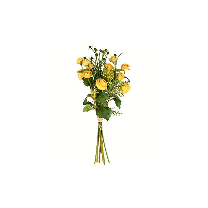 "silk flower arrangements vickerman mini ranunculus spray artificial-flowers, 17"", yellow"